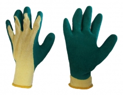 Latex crinkle palm coated gloves
